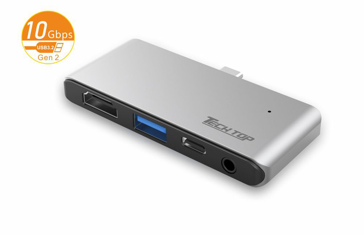 D1033B: USB3.2 Gen2 10Gbps Type-C to HDMI(4k@30Hz) + USB-A HUB(10Gbps) + PD 100W + Audio
