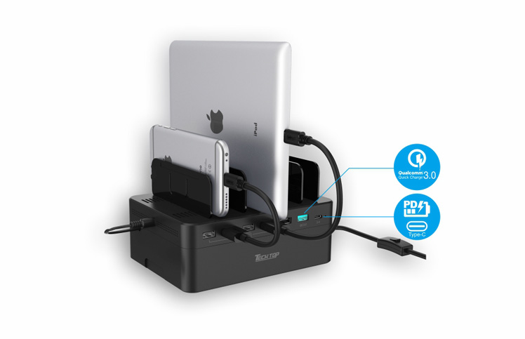 Y-2182: 60W, USB 7-Port Smart Charging Hub  With Removable Bracket and Storage Box