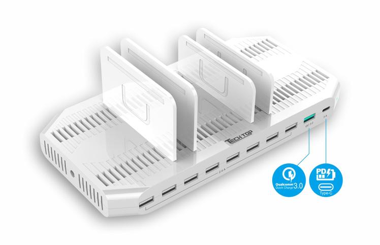 Y-2190: 160W, 10-Port USB Smart Charging Station (8*2.4A + 1*QC3.0 + 1*PD 60W)