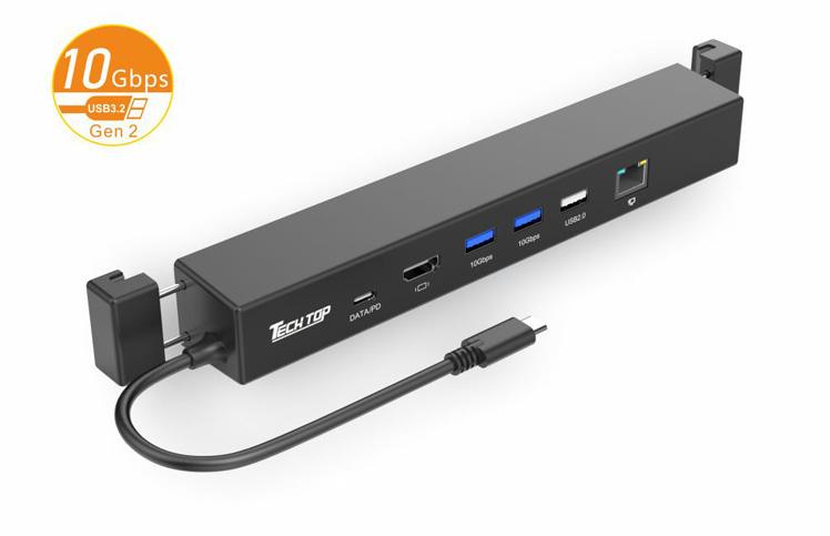 Y-3192A: USB3.2 Gen2 10Gbps Type-c to HDMI + PD + USB3.2 10Gbps USB-A HUB + RJ45